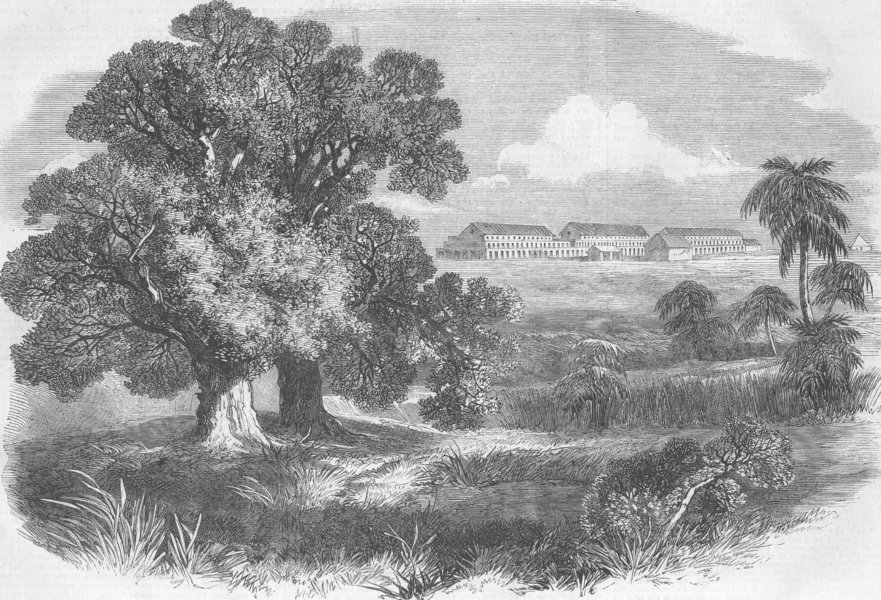 Associate Product INDIA. New barracks at Mhow, antique print, 1863