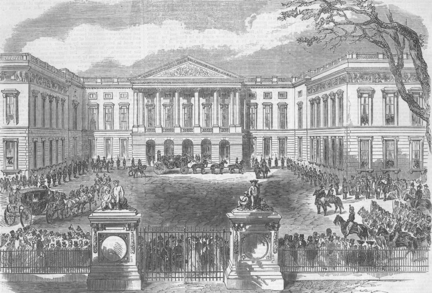 Associate Product BELGIUM. King Leopold going to open parliament, antique print, 1863
