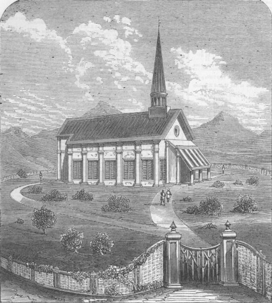 Associate Product INDIA. Mhow. Station Church, antique print, 1863