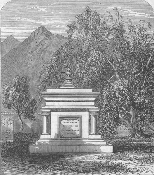 Associate Product INDIA. Mhow. Tomb of Sgt-Maj Lilley, Station Cemetery, antique print, 1863