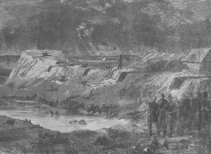 Associate Product SOUTH CAROLINA. Civil War. Ft Wagner, Charleston, antique print, 1863