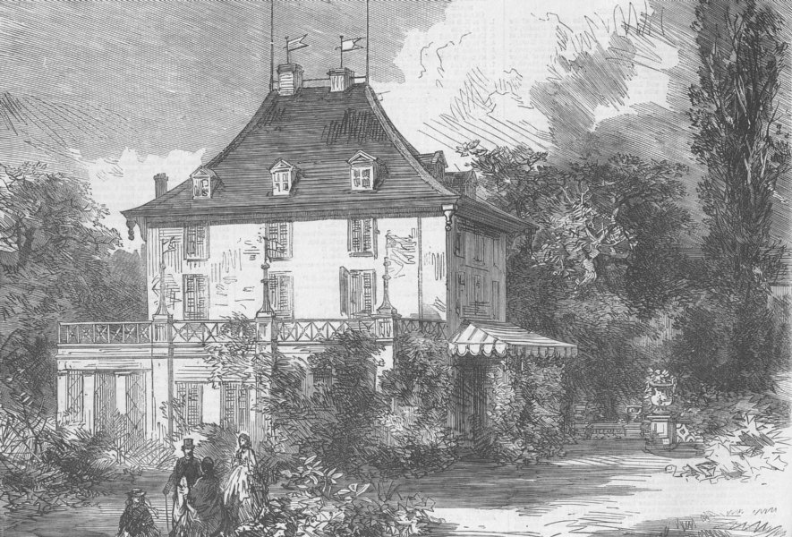 Associate Product SWITZERLAND. Arenenberg Chateau, Napoleon III House, antique print, 1865