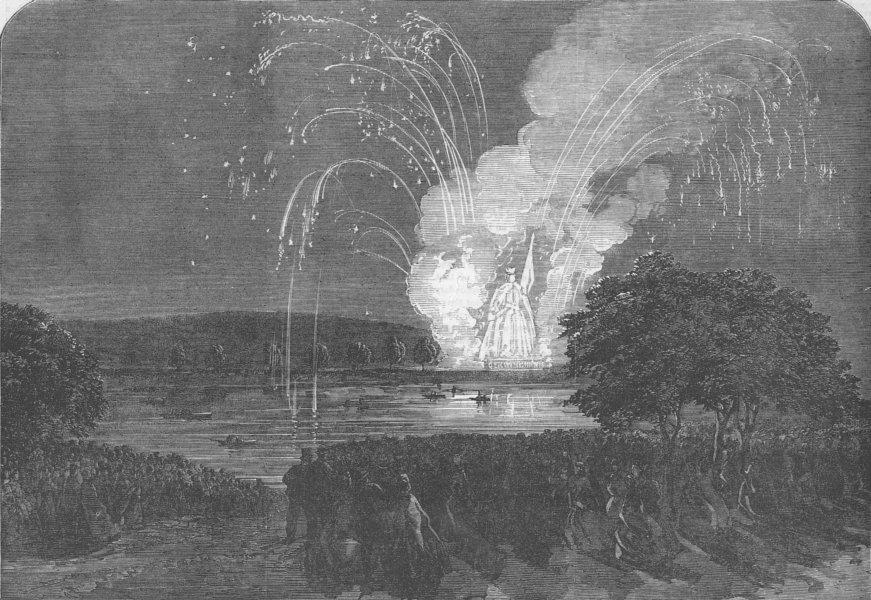 Associate Product GERMANY. Fireworks, Maine, Frakfurt, antique print, 1863