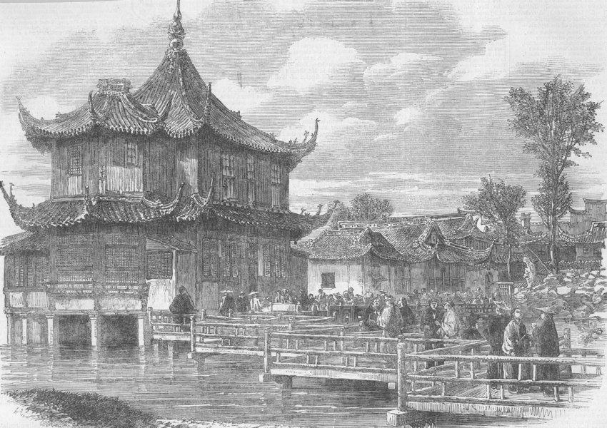 Associate Product CHINA. Native Tea-Gardens, antique print, 1863