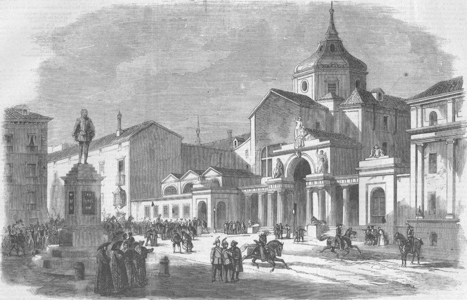 Associate Product SPAIN. Plaza de las Cortes, Madrid, antique print, 1859