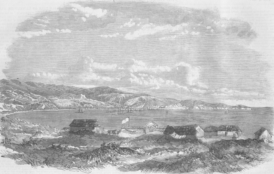 Associate Product CHILE. The Bay of Valparaiso, antique print, 1859