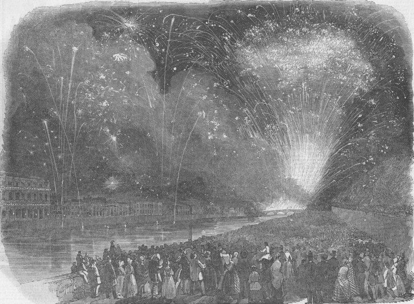 Associate Product FRANCE. Royal fetes, Paris. Fireworks, antique print, 1846