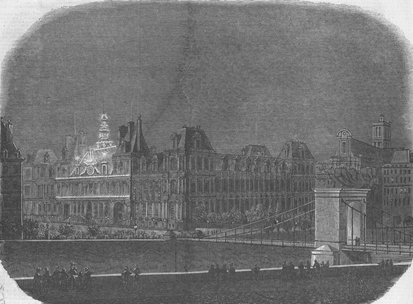 Associate Product FRANCE. Royal fetes, Paris. Hotel De Ville lit up, antique print, 1846