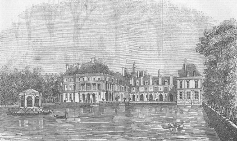 Associate Product FRANCE. Fontainebleau palace, from Ave of Maintenon, antique print, 1846