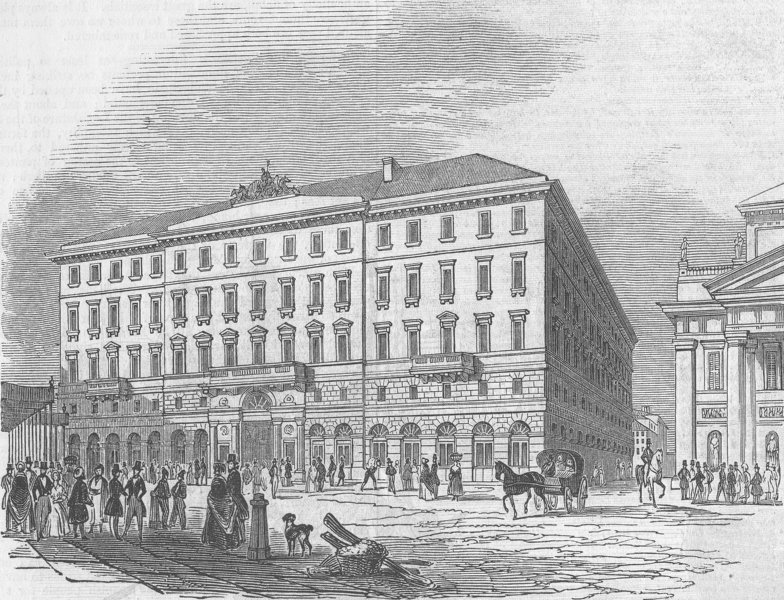 Associate Product ITALY. Trieste-The hotel, antique print, 1846