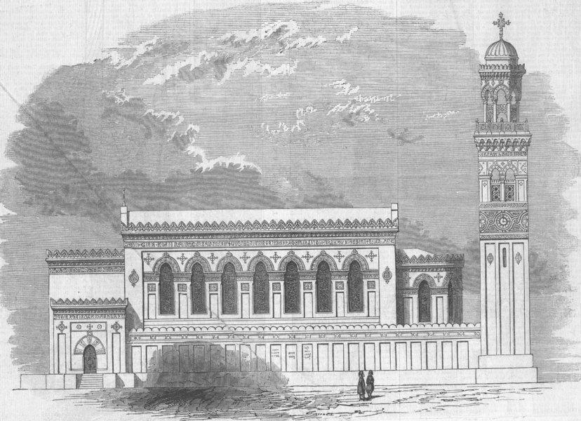 Associate Product EGYPT. St Mark's Church, Alexandria, antique print, 1846