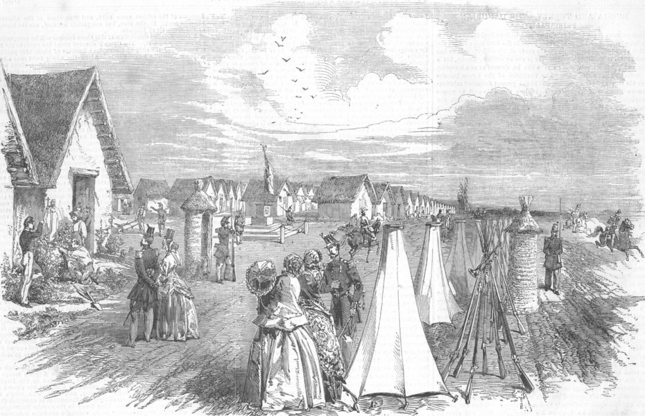 Associate Product FRANCE. Camp, Helfaut, St Omer, antique print, 1853