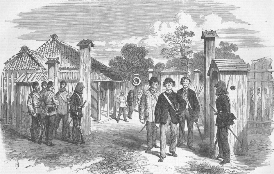 Associate Product JAPAN. Trade treaty. entry Gate of Yokohama , antique print, 1868