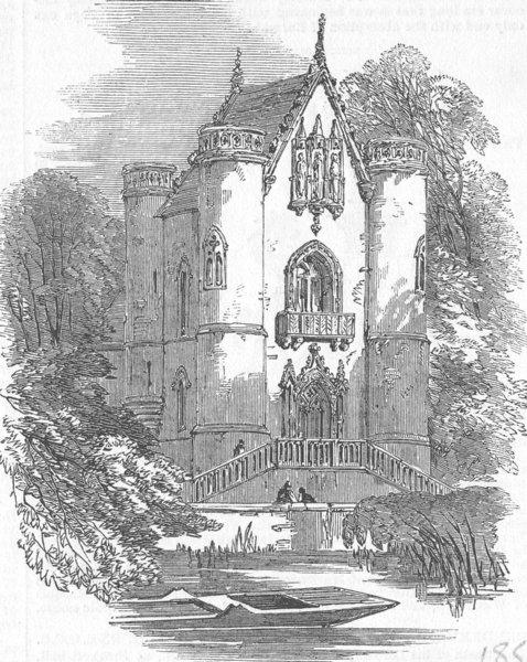 Associate Product CHANTILLY. Chateau de la Reine Blanche, forest of , antique print, 1853
