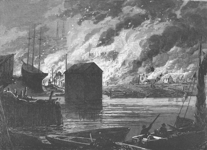 Associate Product CANADA. The great fire at Quebec, antique print, 1870