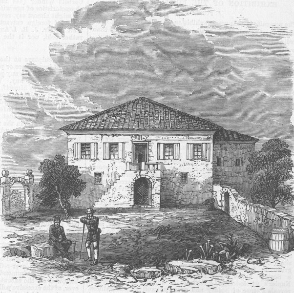 Associate Product OROPOS. kidnapping. House, where Englishmen were kept, antique print, 1870