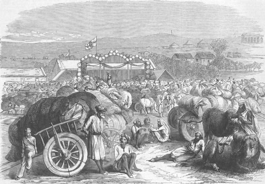 Associate Product INDIA. Khangaon Cotton Market, West Berar , antique print, 1870
