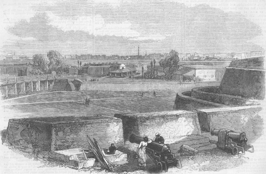 Associate Product INDIA. Kolkata, from the Plassey Gate, antique print, 1870