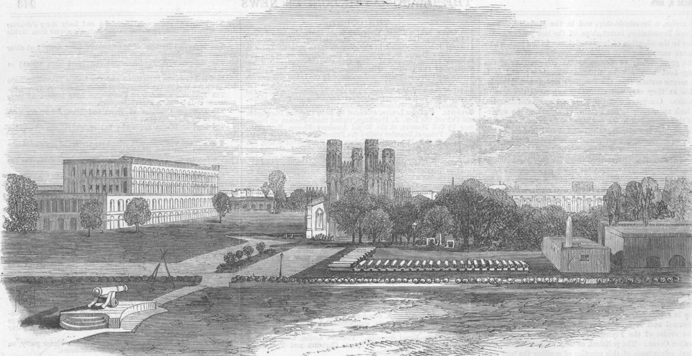 Associate Product INDIA. Ft Church & South barracks, Kolkata, antique print, 1870