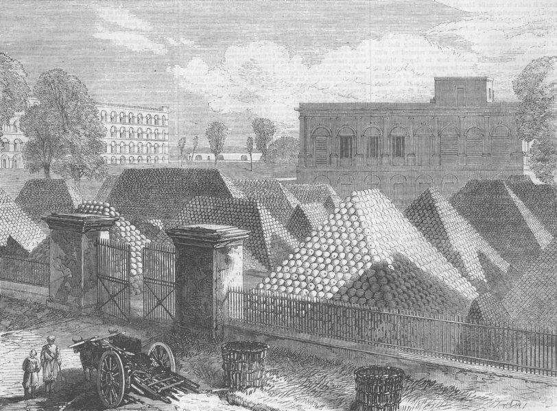 Associate Product INDIA. Govt House Ft & Dalhousie barracks, Kolkata, antique print, 1870