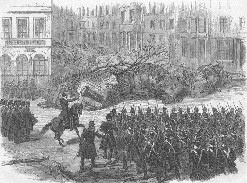 Associate Product FRANCE. Disturbances, Paris. Barricade, Belleville, antique print, 1870