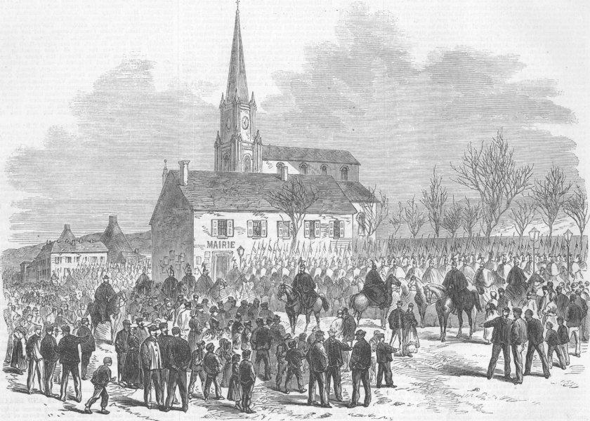 Associate Product FRANCE. Strike, Creuzot Ironworks. Arrival of Lancers, antique print, 1870