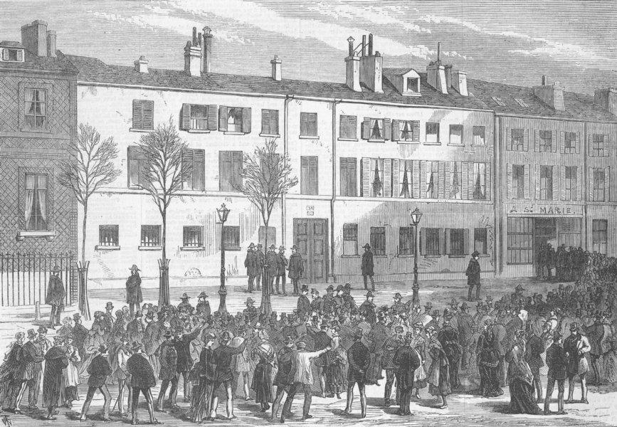 Associate Product PARIS. Prince Pierre Bonaparte's House, Auteuil, antique print, 1870