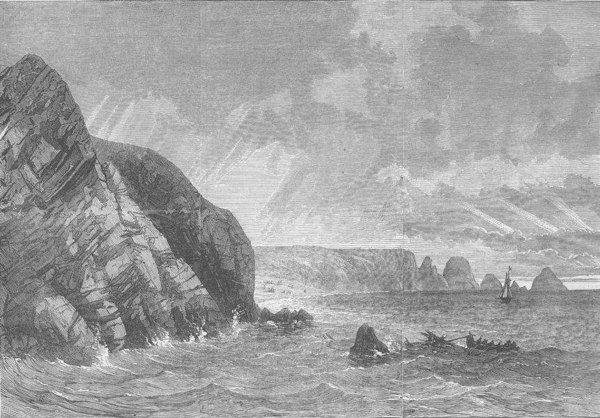 Associate Product MILITARIA. Wreck of Gorgone, French Man--War, antique print, 1870