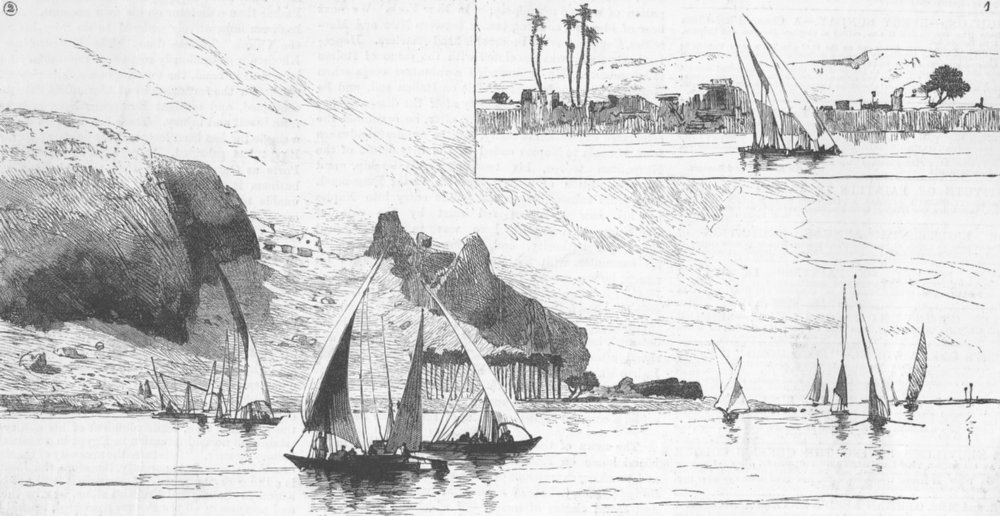 Associate Product NILE. Village, destroyed by flood; Arabian Mountains, antique print, 1882