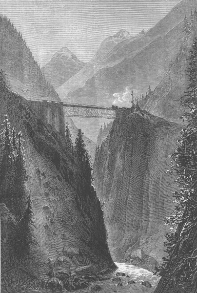 Associate Product SWITZERLAND. St Gothard Railway. Bridge, Reuss, Amsteg, antique print, 1882