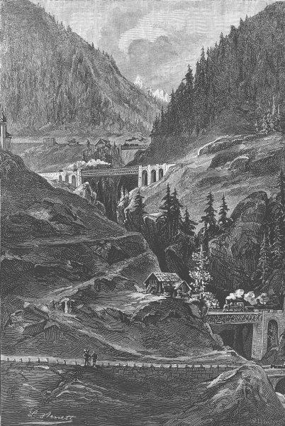Associate Product SWITZERLAND. Bridge, Wasen, Mayen Reuss, antique print, 1882