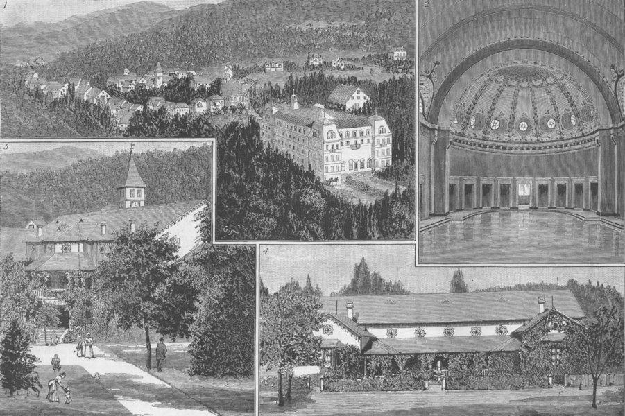 Associate Product GERMANY. Badenweiler, Black Forest; Kurhaus, Kurgarten, antique print, 1885