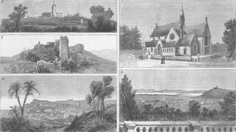Associate Product FRANCE. Hyeres. Ermitage Chapel; Chateau, antique print, 1885