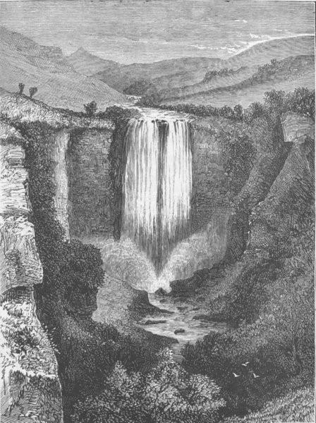 Associate Product SOUTH AFRICA. Xhosa War. karkloof Waterfall, antique print, 1879