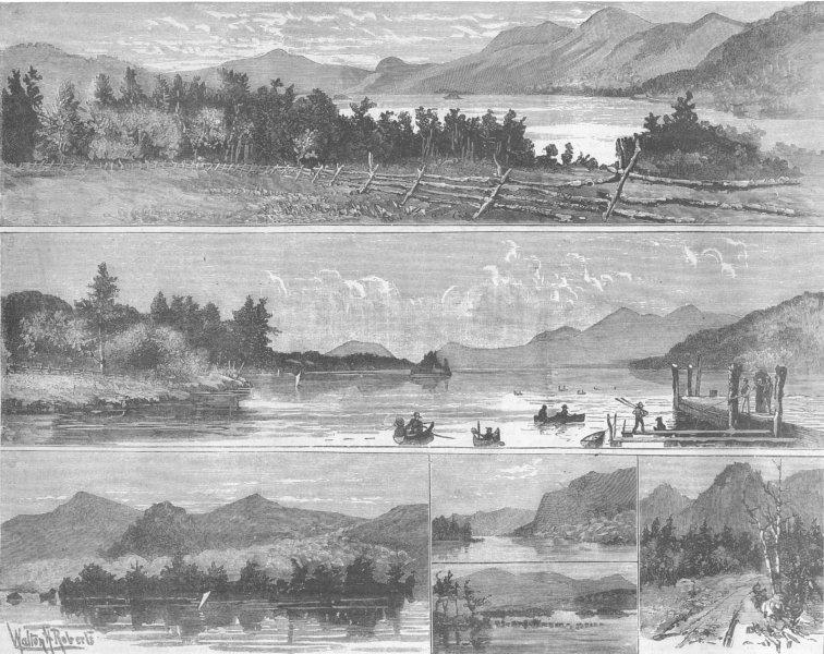 Associate Product NEW YORK. Lake George, antique print, 1885