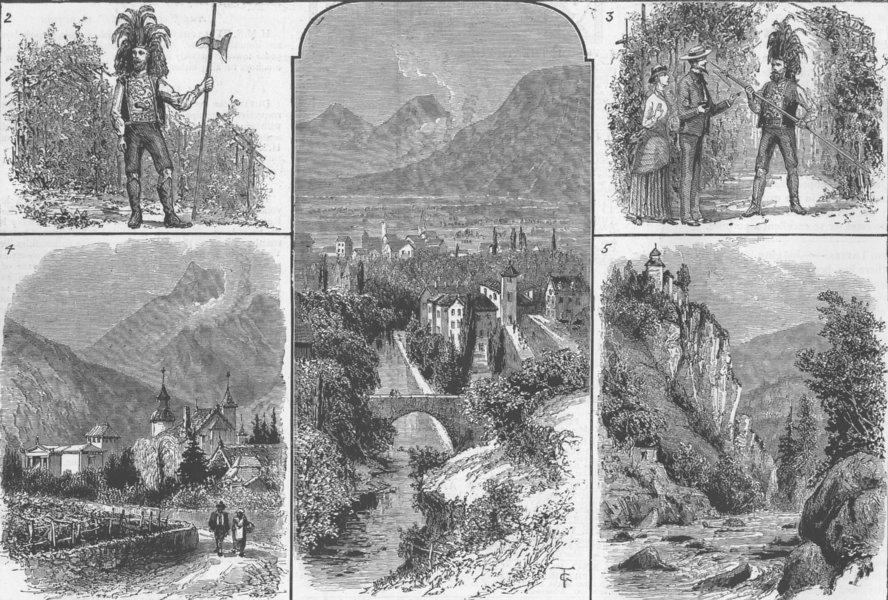 Associate Product TYROL. Meran; Saltner, ; Zenoberg Castle, antique print, 1885