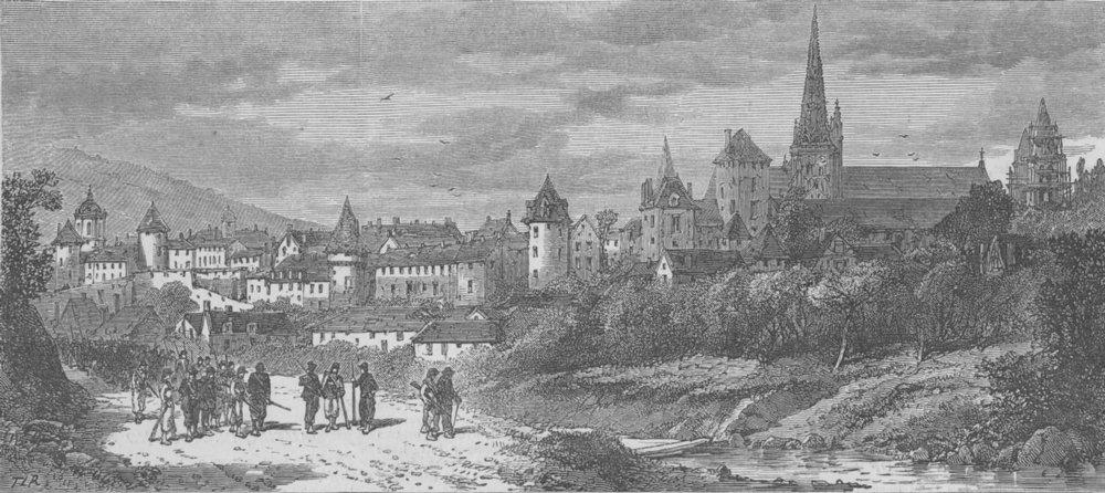 FRANCE. Autun, Garibaldi's HQ, antique print, 1870