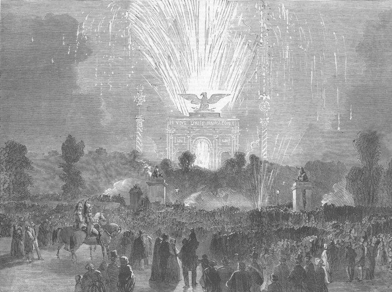 Associate Product FRANCE. Military Fetes, Paris-fireworks, antique print, 1852