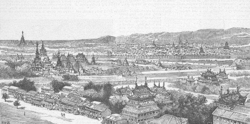 Associate Product BURMA. View of Mandalay, antique print, 1885