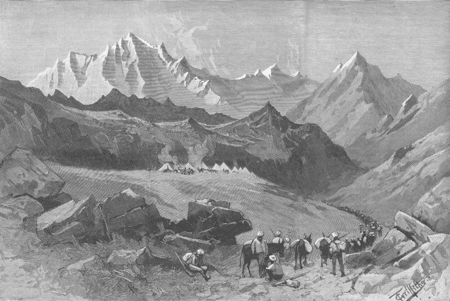 Associate Product INDIA. Kamri pass, Himalayas, between Kashmir & Indus, antique print, 1885