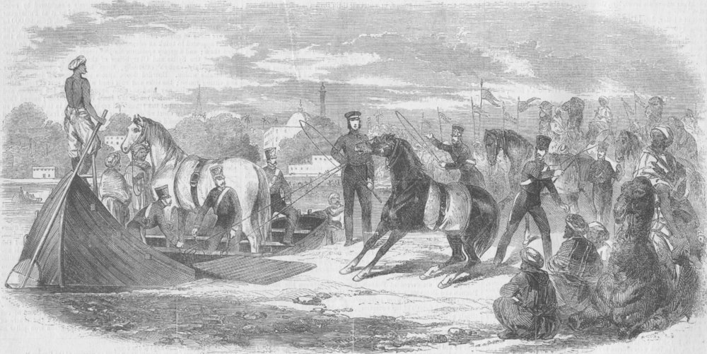 Associate Product INDIA. Cavalry crossing ferry, Allahabad, antique print, 1857