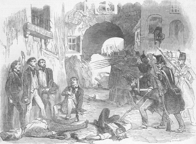 Associate Product FRANCE. Coup. troops shooting rebels, Paris, antique print, 1851