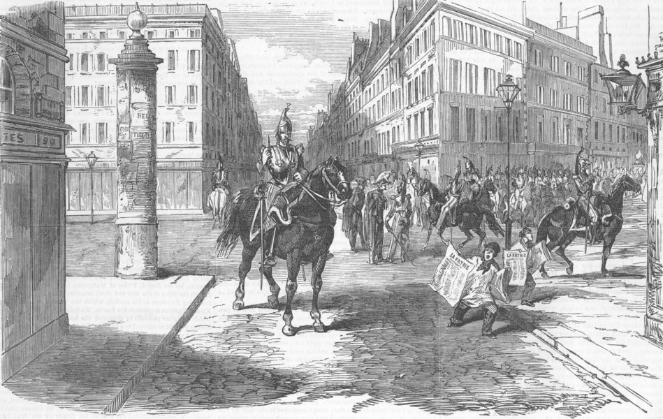 Associate Product FRANCE. Coup. Aspect of Boulevards, antique print, 1851