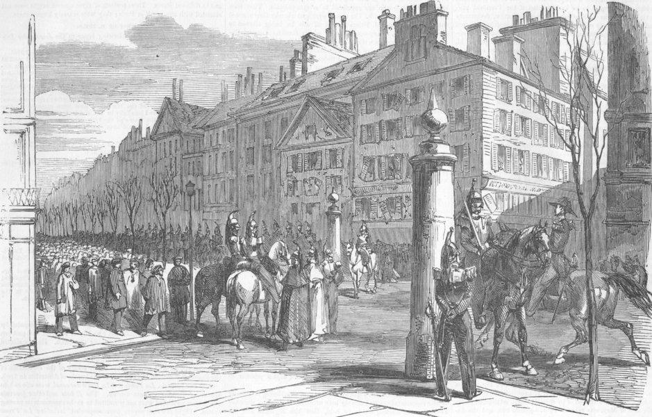 Associate Product FRANCE. Coup. Blvd Montmartre, antique print, 1851