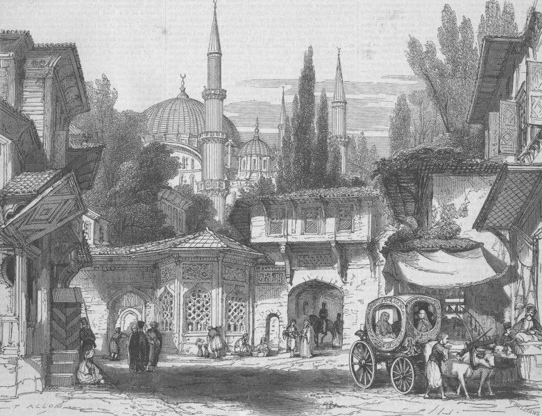 Associate Product ISTANBUL. St, with fountain & Sultan Achmet mosque, antique print, 1851