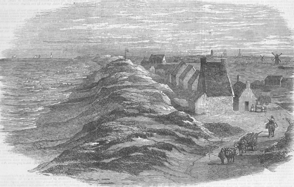Associate Product FRANCE. Landing the telegraph cable, Sangatte, Calais, antique print, 1851