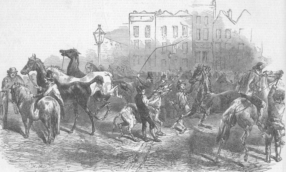 Associate Product LONDON. Horse-market, Smithfield, antique print, 1849