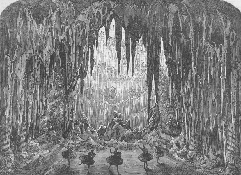 Associate Product LONDON. Caverns of ice, Alhambra, Leicester Sq, antique print, 1867