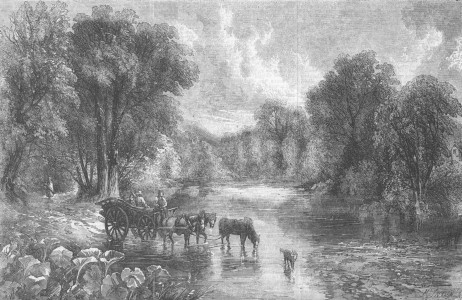 Associate Product LANDSCAPES. Summer time-Crossing Rd, antique print, 1856