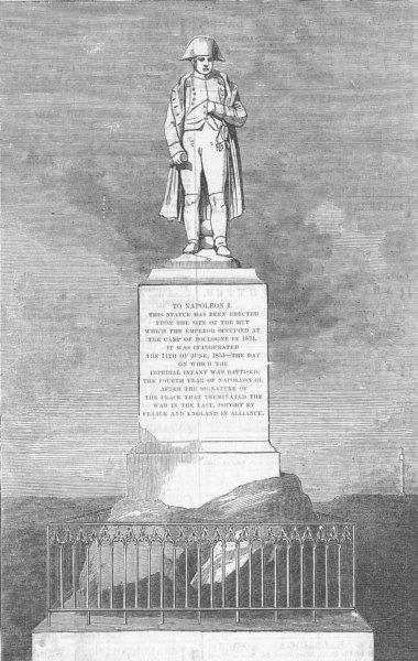 Associate Product FRANCE. Statue of Napoleon, Boulogne, antique print, 1856